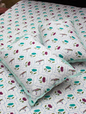 Lotus Jaal Hand Block Print Cotton Pillow Cover - Set of 2 - Pinklay
