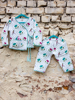 Lotus Jaal Quilted Organic Cotton Angrakha Set - Pinklay
