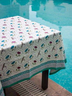 Lotus Jaal Hand Block Print Cotton Table Cover - Pinklay