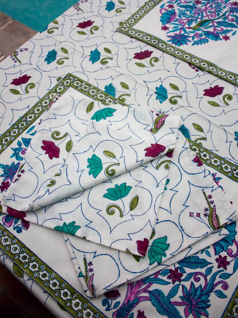 Lotus Jaal Hand Block Print Cotton Table Napkins - Set of 6