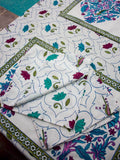 Lotus Jaal Hand Block Print Cotton Table Napkins - Set of 6 - Pinklay