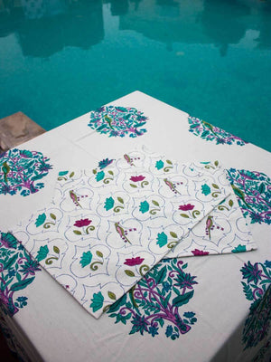 Lotus Jaal Hand Block Print Cotton Table Mats - Set of 6 - Pinklay