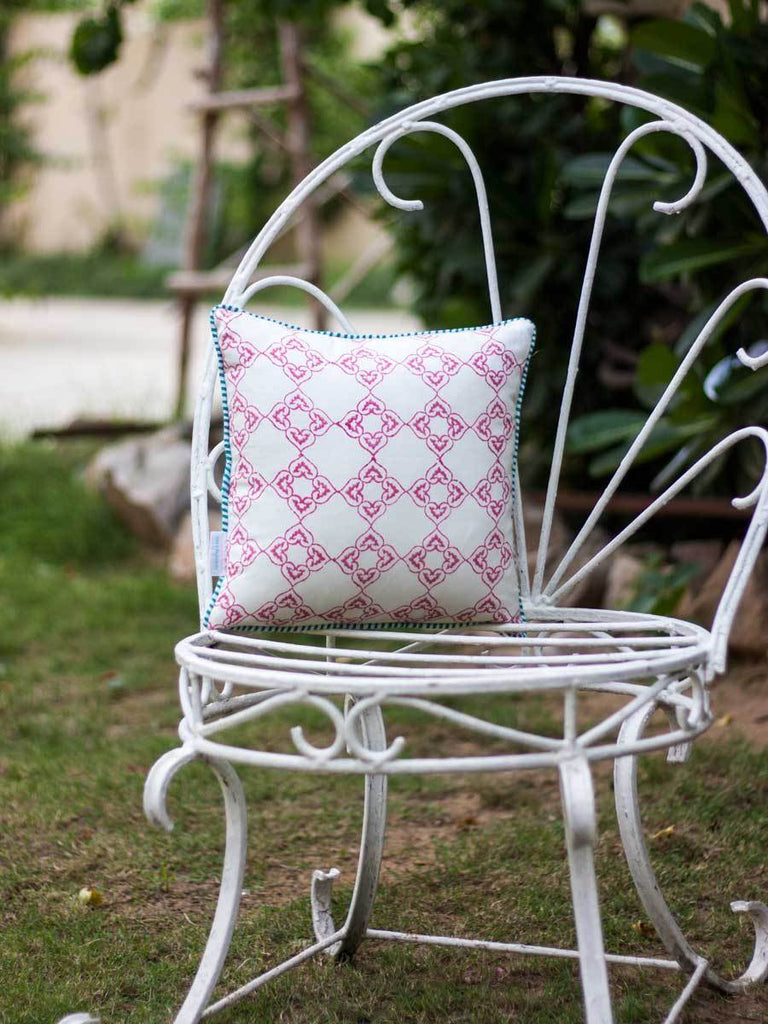 Madhuban Hand Block Print Cotton Cushion Cover - 12 Inch - Pinklay