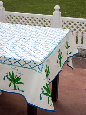 Madhuban Hand Block Print Cotton Table Cover - Pinklay