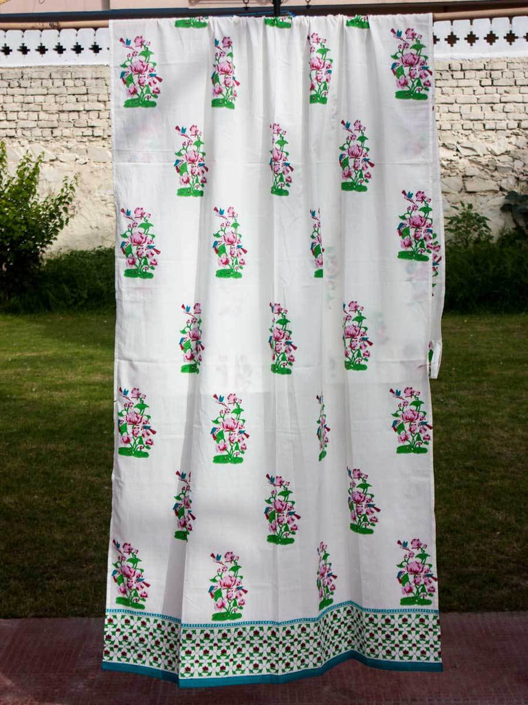 Madhuban Hand Block Cotton Curtain with Border & Concealed Loops - Pinklay