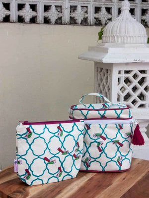 Madhuban Hand Block Print Cotton Travel Vanity Case and Pouch - Set of 2 Travel Cases