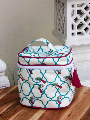 Madhuban Hand Block Print Cotton Travel Vanity Case Travel Cases