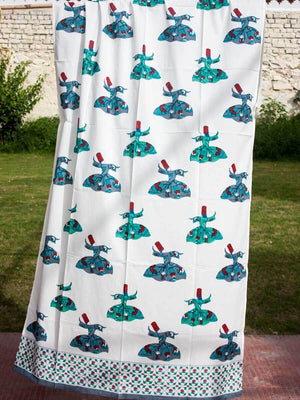 Mahtab Whirling Dervish Hand Block Print Cotton Curtain with Border & Concealed Loops Curtains