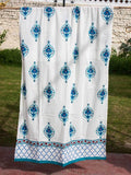 Mahtab Royal Seal Hand Block Print Cotton Curtain with Border & Concealed Loops - Pinklay