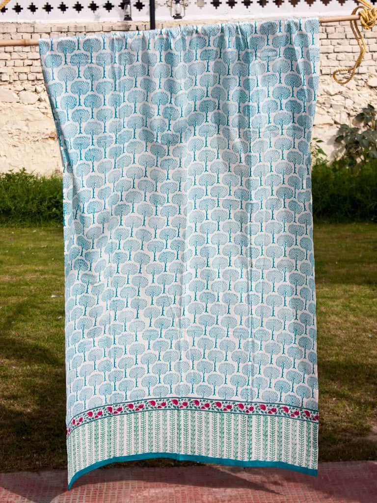 Mahtab Garden Hand Block Print Cotton Curtain with Border & Concealed Loops - Pinklay