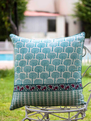 Mahtab Hand Block Print Cotton Cushion Cover - 24 Inch - Pinklay