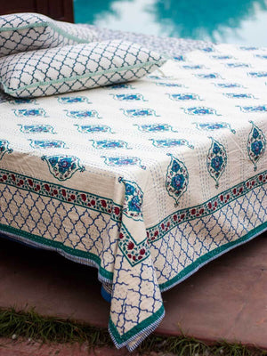 Mahtab Kantha Cotton Gudri; Double Layered Bed Cover - Pinklay