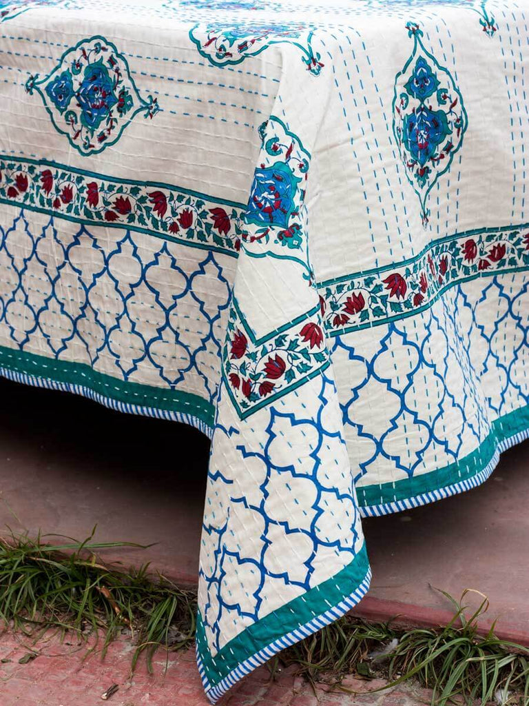 Mahtab Kantha Cotton Gudri; Double Layered Bed Cover Bed Cover