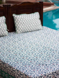 Mahtab Firefly Handblock Print Cotton Double Bed Sheet Set With 2 Pillow Covers Bed Sheet