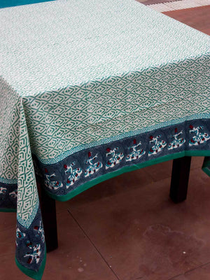 Mahtab Hand Block Print Cotton Table Cover - Pinklay
