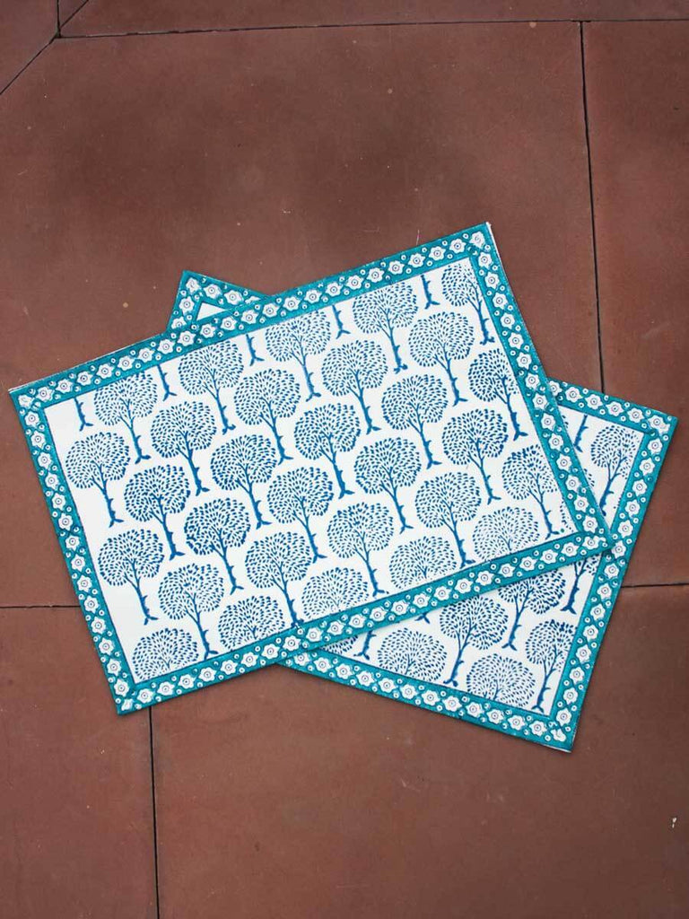 Mahtab Hand Block Print Cotton Table Mats - Set of 6 - Pinklay