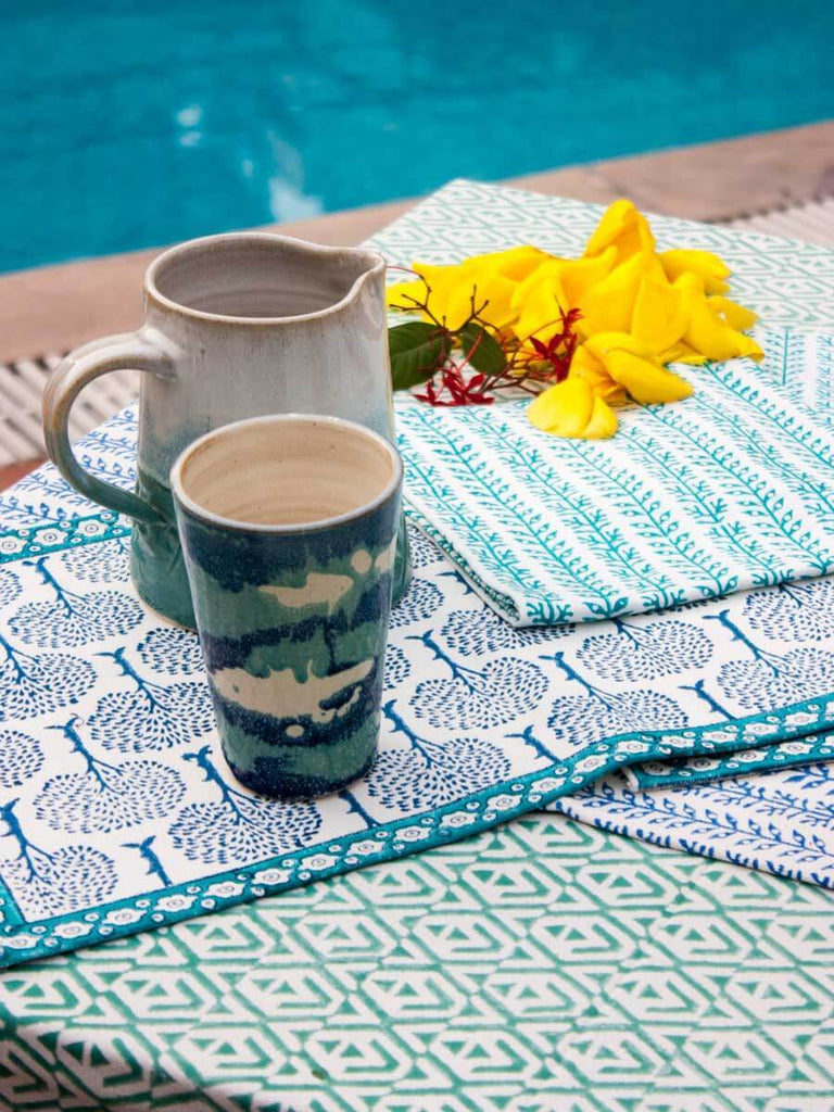 Mahtab Hand Block Print Cotton Table Mats - Set of 2 Table Mats Runners Napkins Tea Cozy