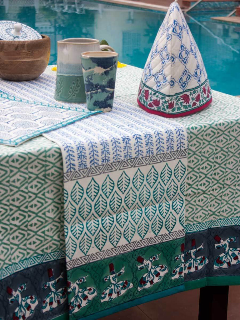 Mahtab Hand Block Print Cotton Table Runner - Pinklay