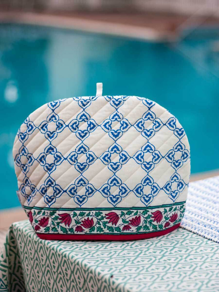 Mahtab Hand Block Print Cotton Quilted Tea Cozy - Pinklay