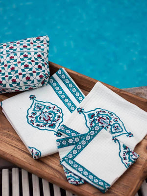 Mahtab Hand Block Print Cotton Hand Towels - Set of 2 - Pinklay
