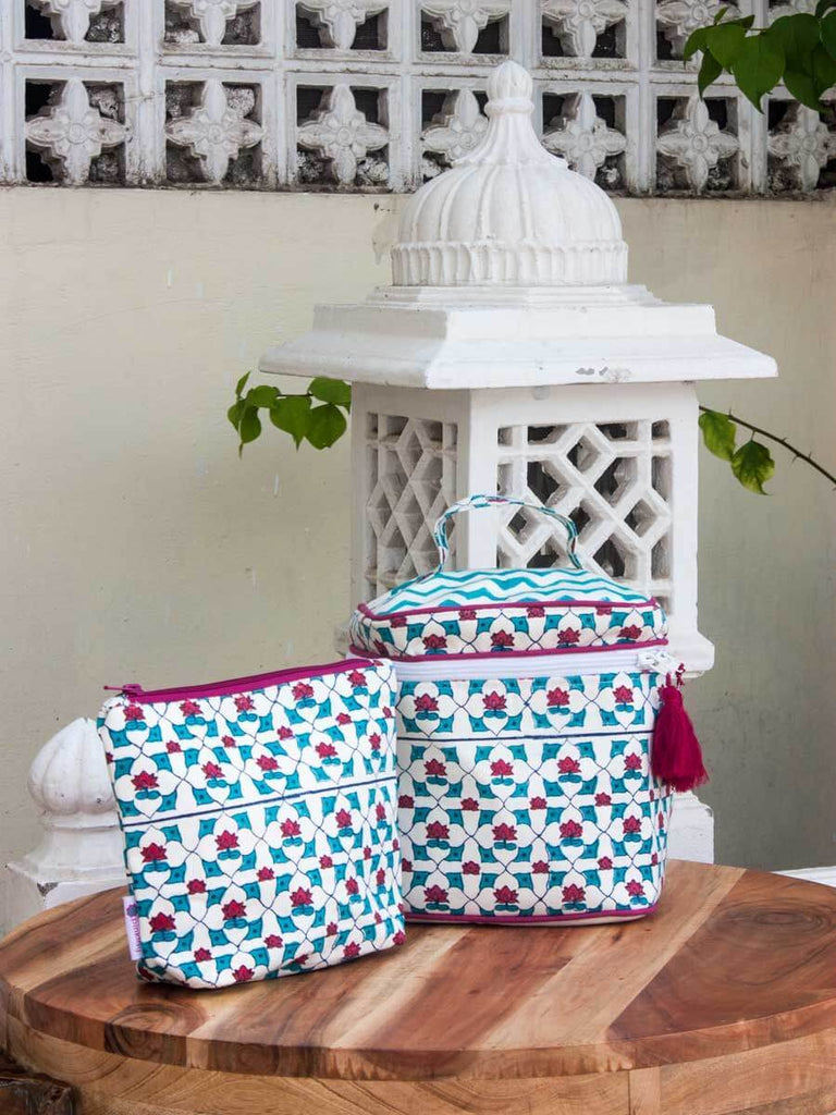 Mahtab Hand Block Print Cotton Travel Pouch - Pinklay