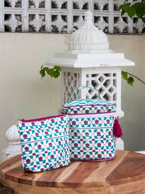 Mahtab Hand Block Print Cotton Travel Vanity Case and Pouch - Set of 2 Travel Cases
