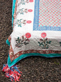 Marigold Kantha Cotton Gudri; Double Layered Bed Cover With Tassels Bed Cover