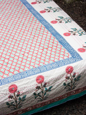 Marigold Kantha Cotton Gudri; Double Layered Bed Cover With Tassels - Pinklay