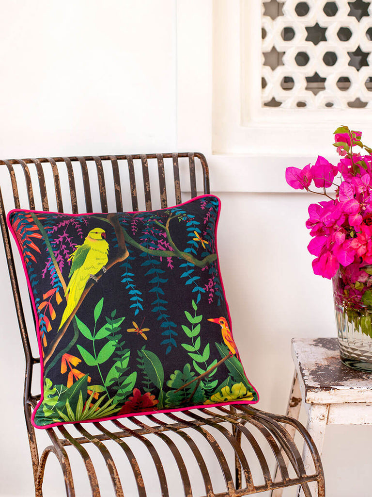 Midnight Paradise Cotton Cushion Cover - Pinklay