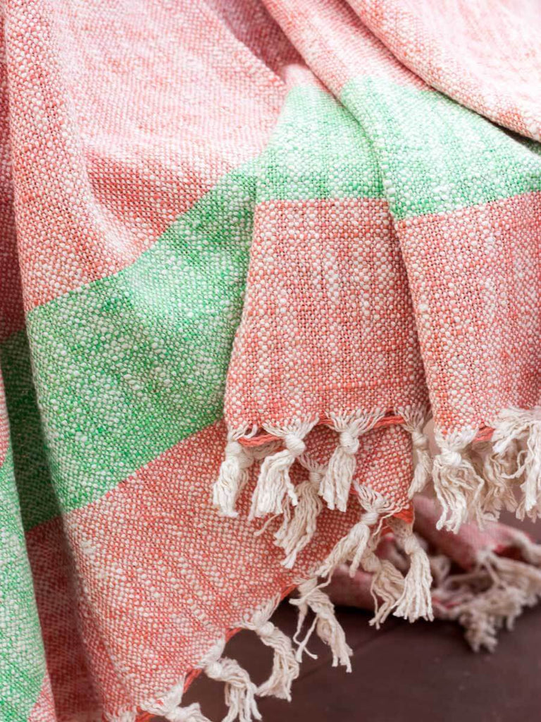 Morning Mist Handwoven Cotton Throw With Tassels - Pinklay
