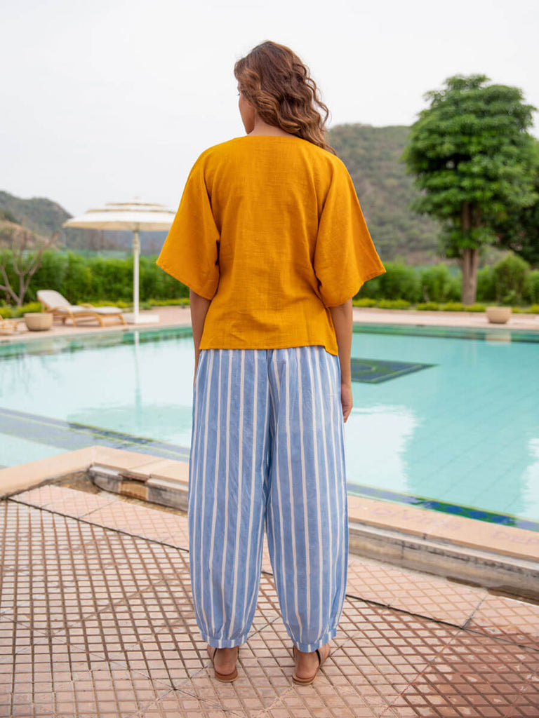 Mustard Cotton Slub Short Top & Lantern Pants Set - Pinklay