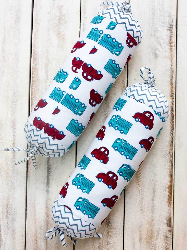 My Red Car Organic Cotton Infant Bolster - Set of 2 - Pinklay