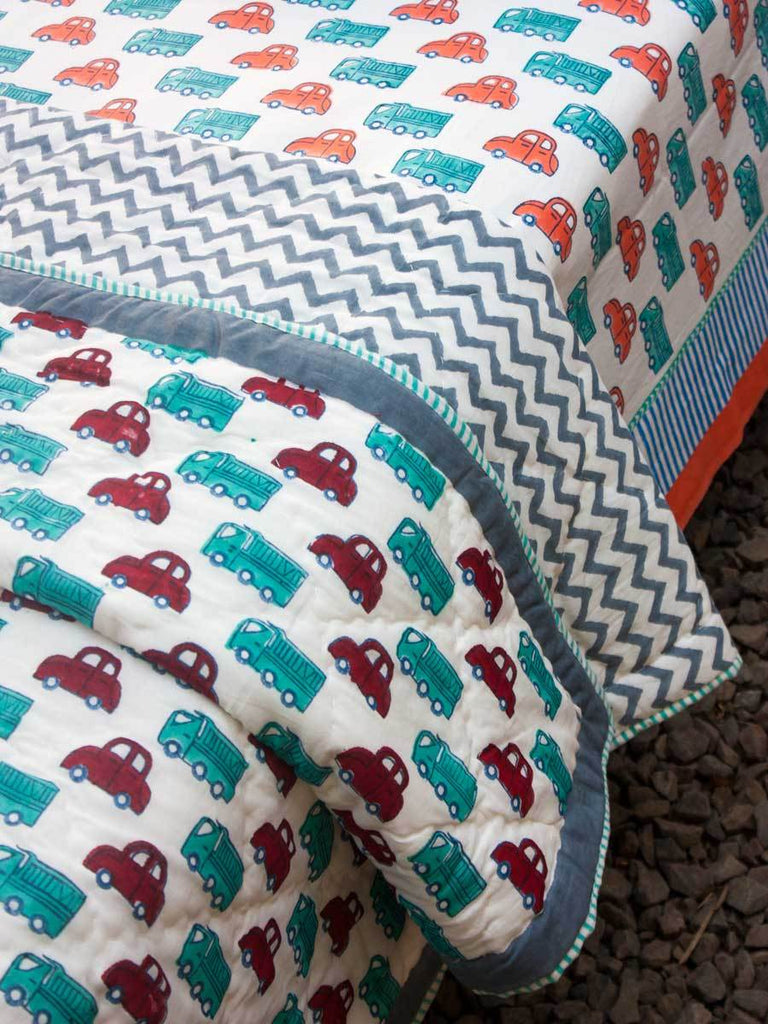 My Red Car GOTS Certified Organic Cotton Reversible Single Bed Quilt - Pinklay