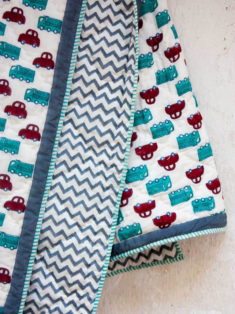 My Red Car GOTS Certified Organic Cotton Reversible Single Bed Quilt New Kids Collection