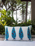 Nayaab Buta Hand Block Print Double Side Printed Cotton Cushion Cover - 12 X 20 Inch - Pinklay