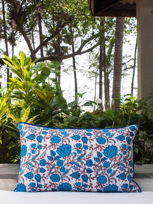Nayaab Lotus Jaal Hand Block Print Double Side Printed Cotton Cushion Cover - 12 X 20 Inch - Pinklay