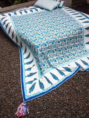 Nayaab Kantha Cotton Gudri; Double Layered Bed Cover With Tassels - Pinklay