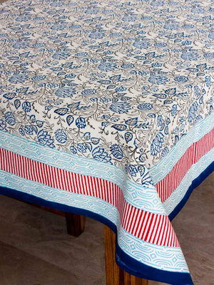 Lotus Hand Block Print Cotton Table Cover - Pinklay