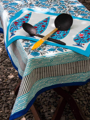 Nayaab Hand Block Print Cotton Table Cover - Pinklay