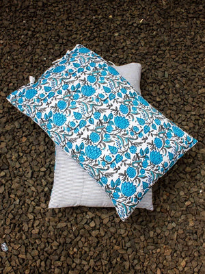 Nayaab Hand Block Print Floral Jaal Cotton Pillow Cover - Set of 2 Pillow Covers