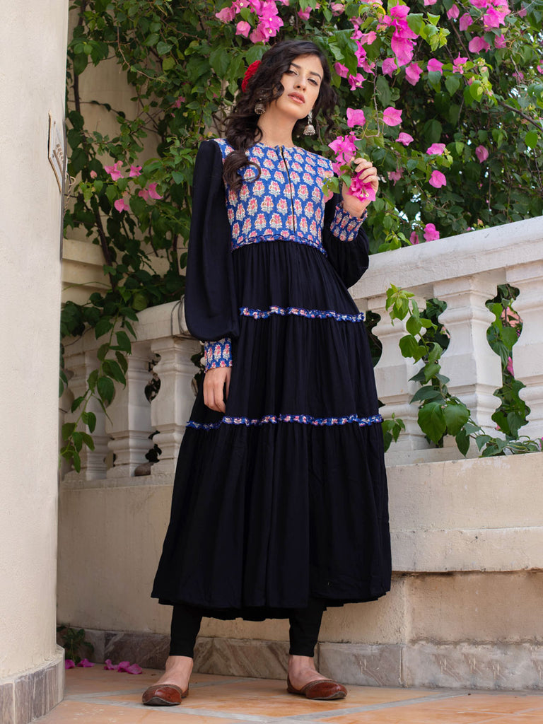 Noor Quilted Anarkali Jacket Dress - Pinklay