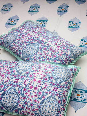 Noor Hand Block Print Cotton Pillow Cover - Set of 2 - Pinklay