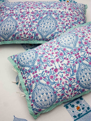 Noor Hand Block Print Cotton Pillow Cover - Set of 2