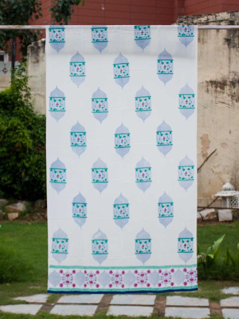 Noor Hand Block Print Cotton Curtain With Border & Concealed Loops