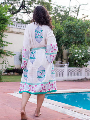 Noor Hand Block Print Cotton Bath Robe - Pinklay