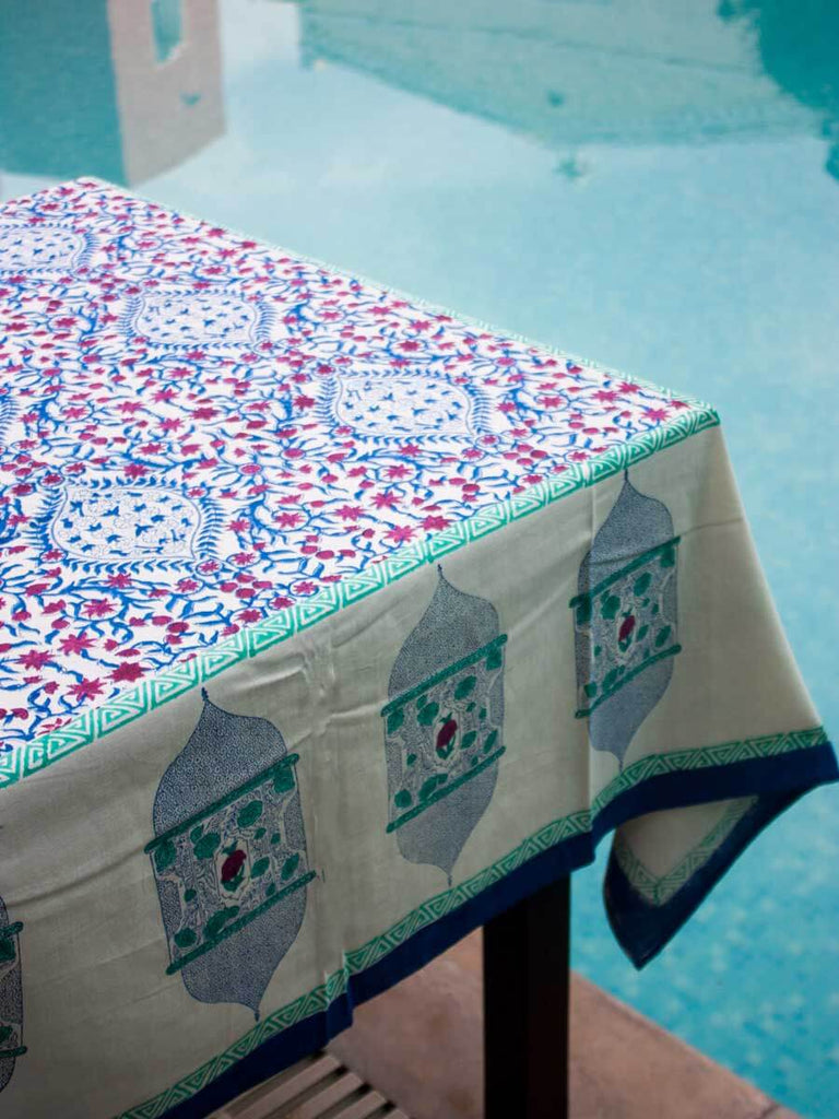 Noor Hand Block Print Cotton Table Cover - Pinklay