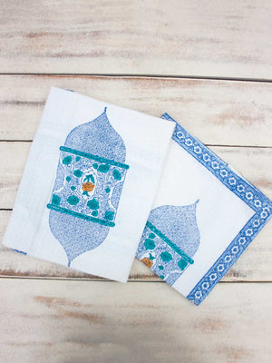 Noor Hand Block Print Cotton Hand Towels - Set of 2