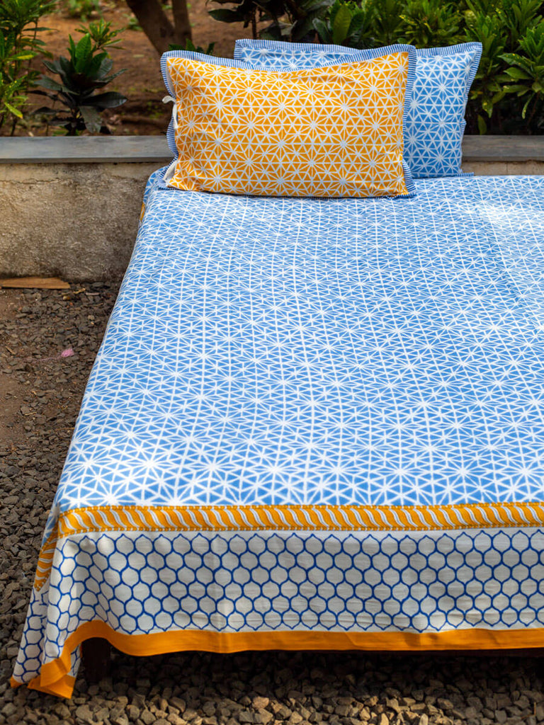 North Star Hand Block Print Cotton Bed Sheet Set With Complementing Pillow Covers - Pinklay