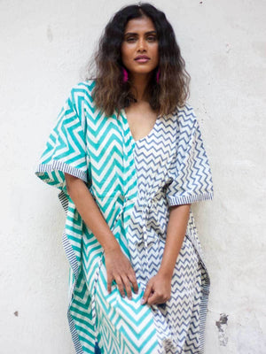 Ocean Breeze Hand Block Printed Cotton Kaftan - Pinklay