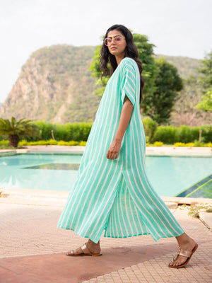 Ocean Wave Cotton Rayon Kaftan - Pinklay